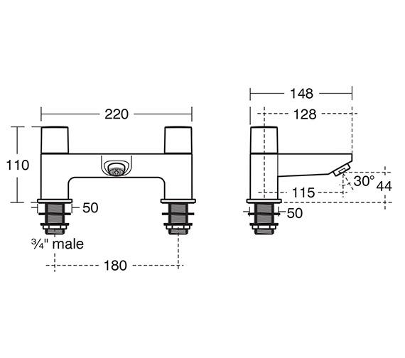 Ideal Standard Tempo 2 Hole Dual Control Bath Filler Tap