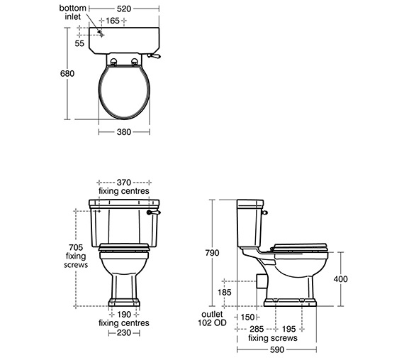 Ideal Standard Waverly Close Coupled WC Pan 680mm And