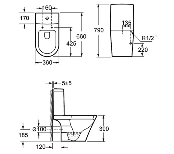 Pura Arco Open-Back Close Coupled WC With Cistern And Seat
