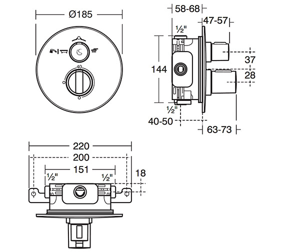 Ideal Standard Concept Easybox Slim Thermostatic Valve Round