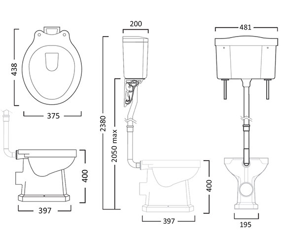 Tavistock Vitoria 438mm WC Pan With High Level Cistern