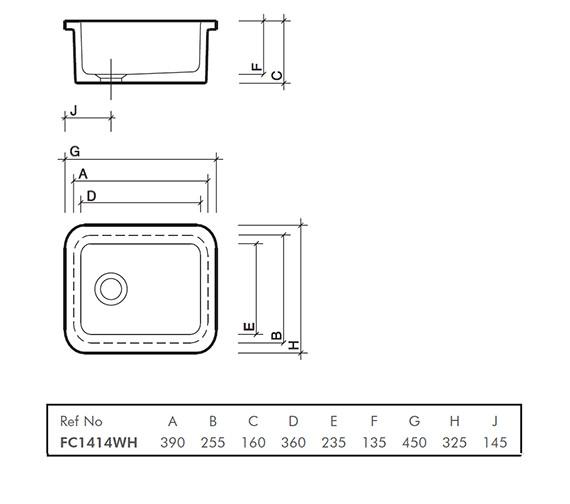 Twyford Laboratory Sink With Flanged Rim 390 x 255 x 160mm