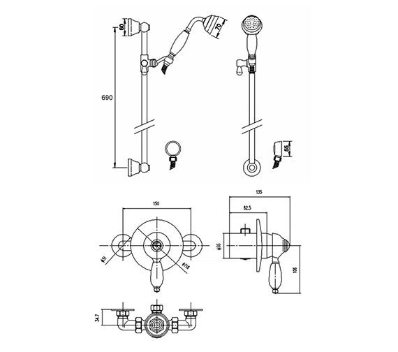 Premier Bathroom Nostalgic Concealed Manual Shower Valve