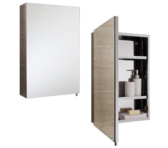 RAK Cube Stainless Steel 400 x 600mm Single Door Mirror