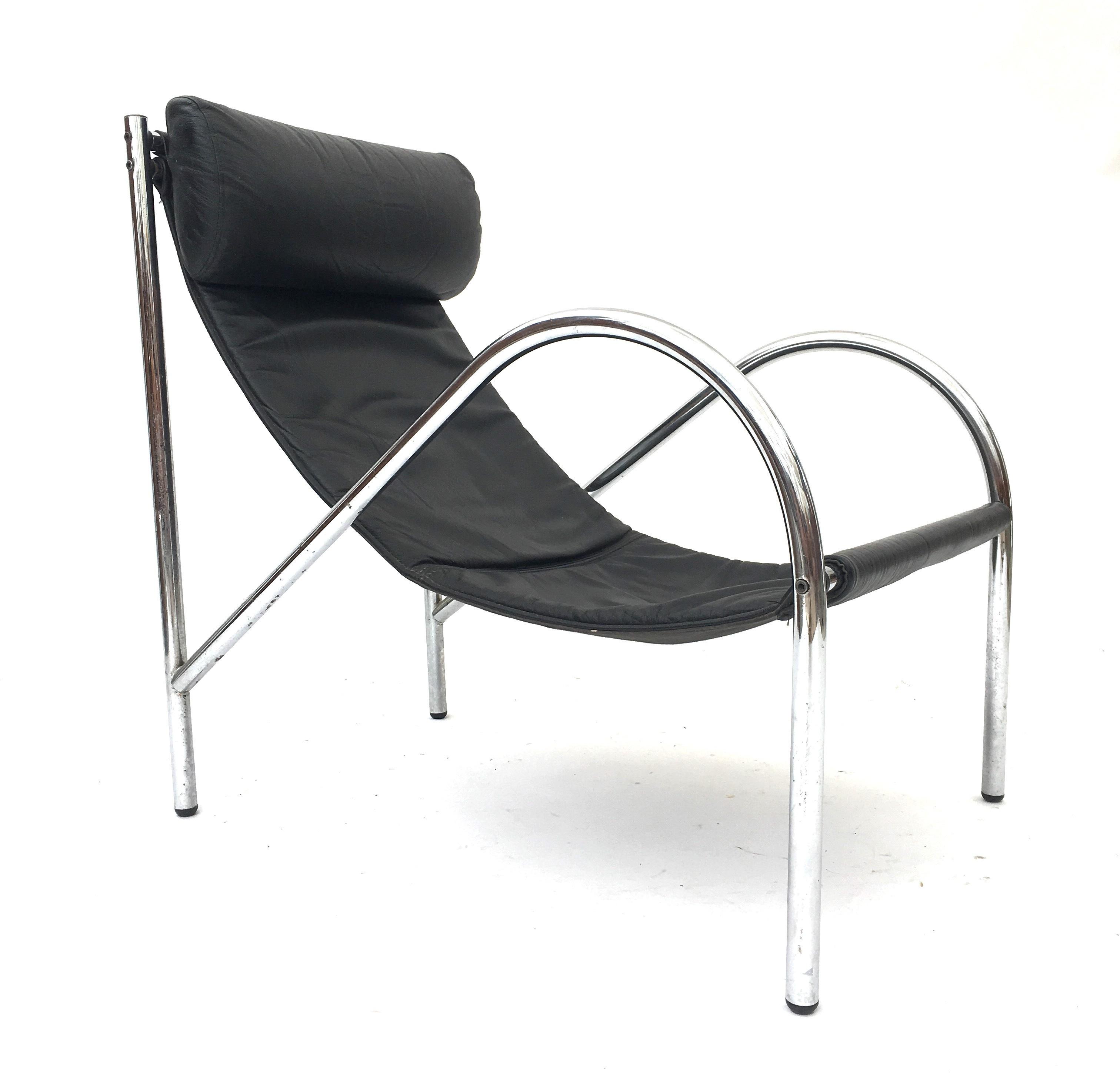 Vintage Retro Mid Century 1970s Chrome Leather Danish Era Modernist Sling Chair