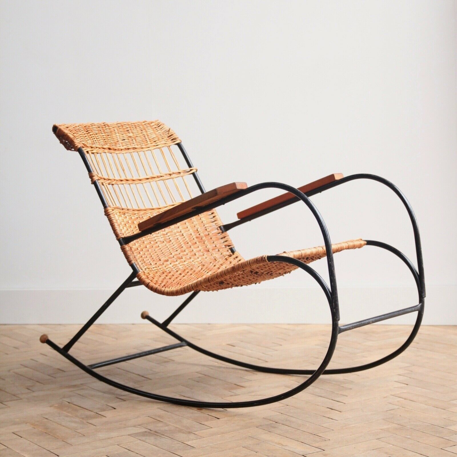 Wicker Rocking Chair Vintage Retro Bent Steel Cane Wicker Rocking Lounge Arm Chair Mid Century
