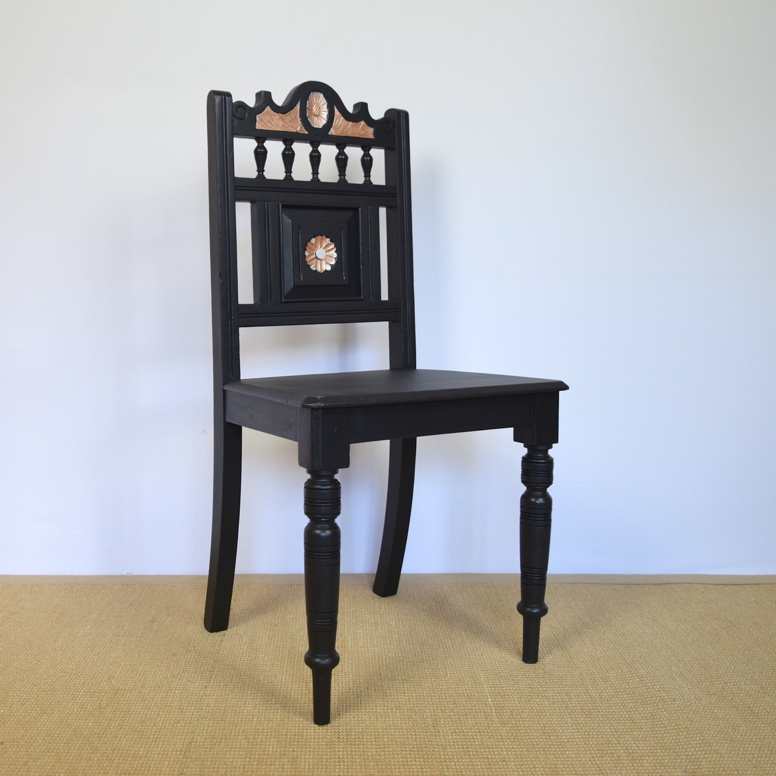 Vintage Accent Chair Vintage Hall Chair Painted Furniture Black Side Chair Accent Chair