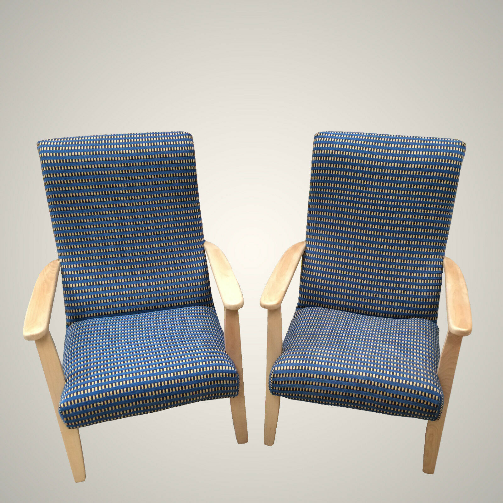 Refurbished Chairs 2 X Refurbished Wooden Framed Arm Chairs In Blue Cream Checks Fire Resistant