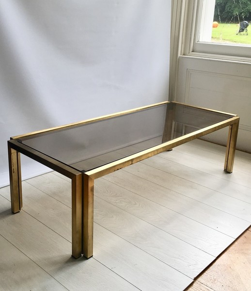 large lacquered brass smoked glass coffee table vinterior