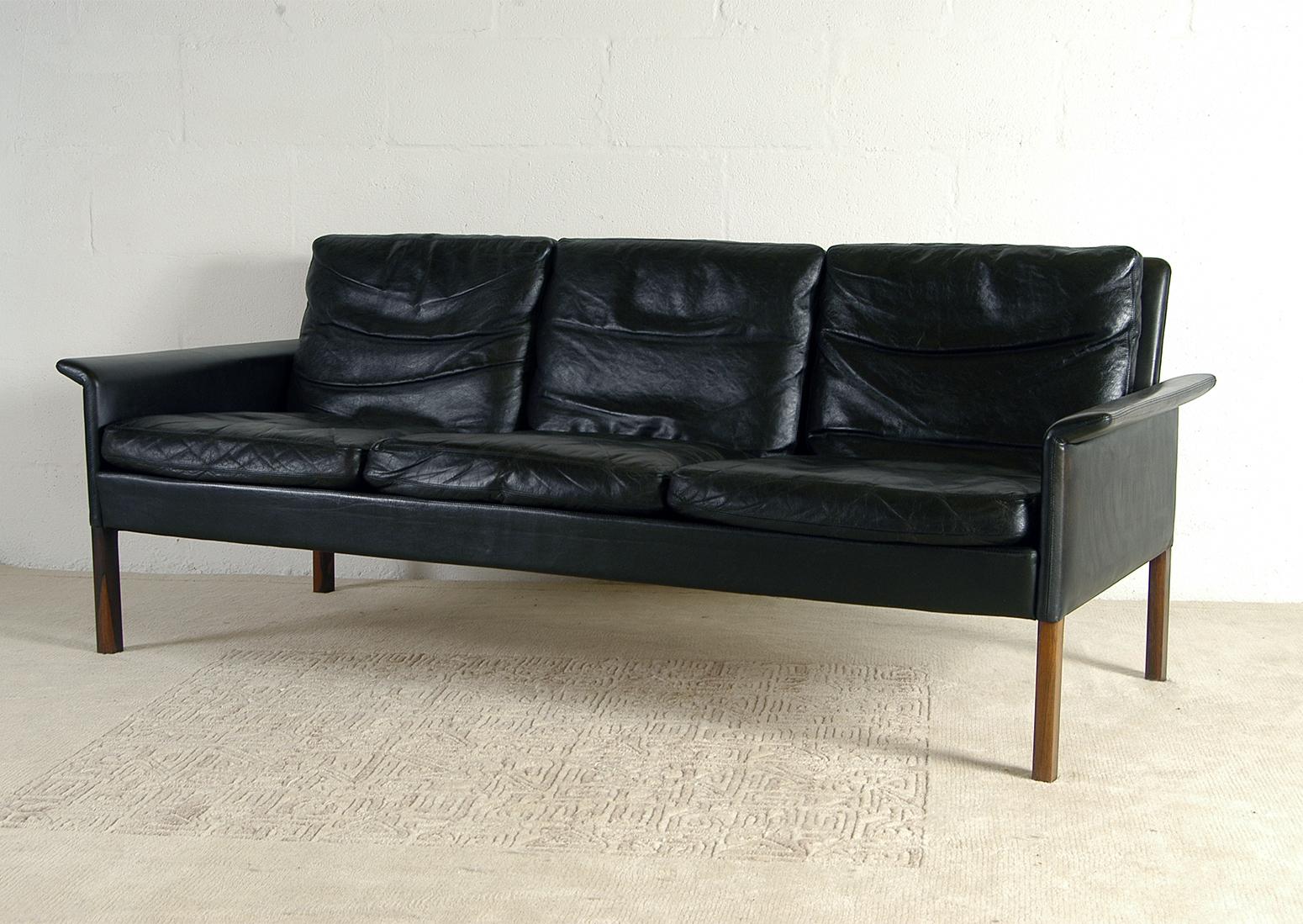 1960s Scandinavian Danish Midcentury Modern Leather Three Seat Sofa By Hans Olsen For Christian Sorensen Denmark Rosewood