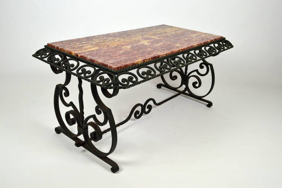 wrought iron art deco coffee table with marble top france circa 1940 vinterior