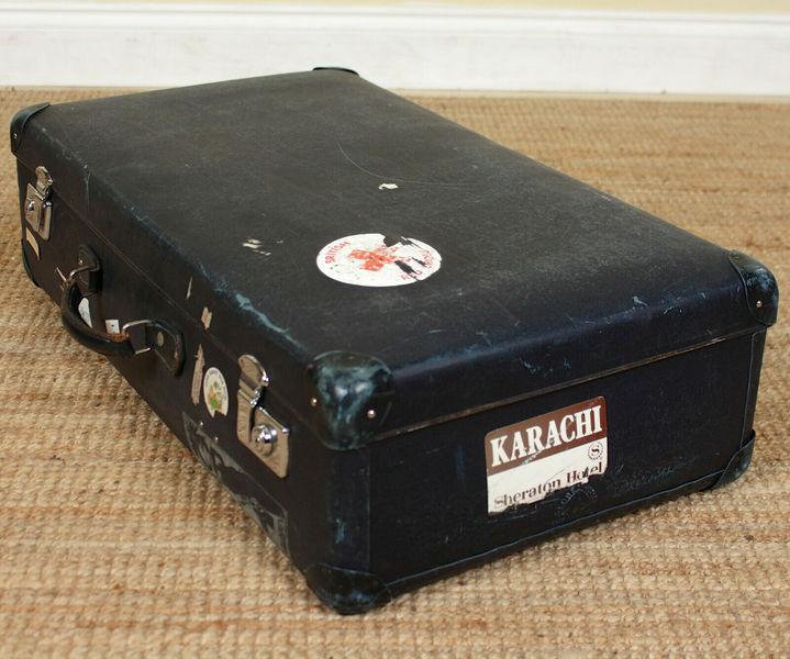 vintage suitcase chest steamer coffee table trunk storage box dark blue vinterior