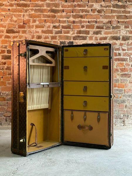 louis vuitton steamer trunk wardrobe trunk chest france circa 1920 vinterior