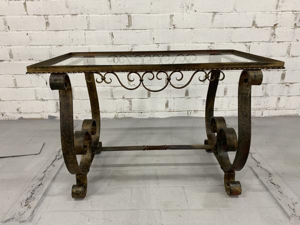 wrought iron glass top spanish coffee table unknown vinterior