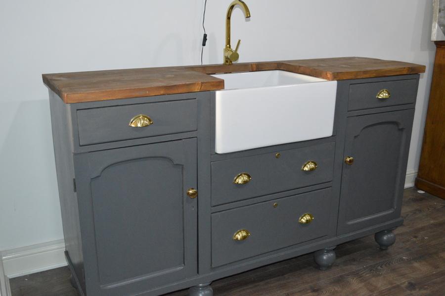 victorian farmhouse belfast sink unit kitchen vintage freestanding vinterior