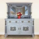 Grey Vintage Mirrored Sideboard Dresser Living Room Dining Room Furniture Kitchen Storage Cabinet Vinterior