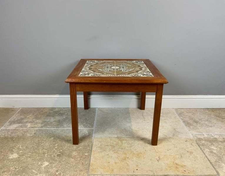 mobelfabrikken toften pair of square teak tile top coffee tables danish mid century modern