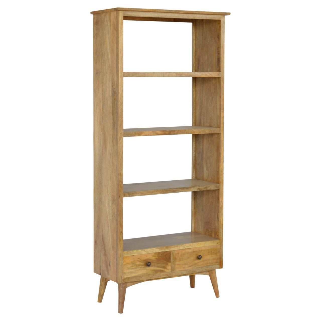Tall Open Backed Mango Wood Bookcase With Drawers