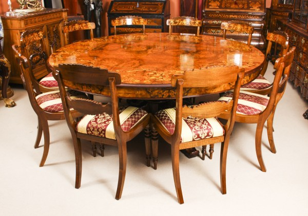 Vintage 6ft 6 Diameter Marquetry Dining Table & 10 Chairs Vinterior