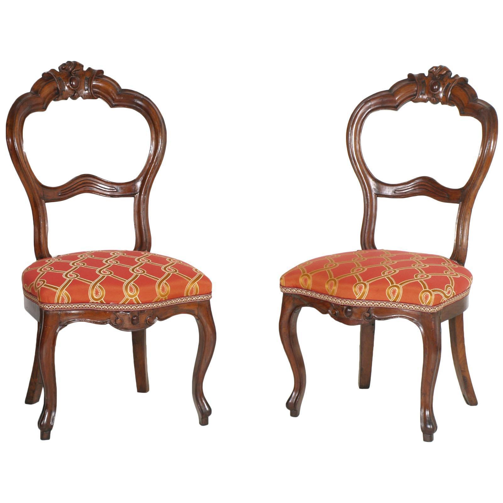 Italian Baroque Louis Philippe Side Chairs Or Slipper Chairs In Walnut Restored