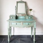Farmhouse Pine Handpainted Upcycled Turquoise Boho Rustic Dressing Table Mirror Vinterior