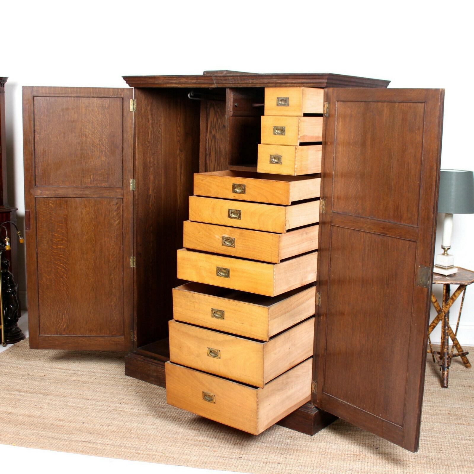 Antique Oak Wardrobe Compactum Armoire Edwardian Arts Crafts Unknown Vinterior