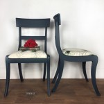 Navy Dark Blue Painted Dining Chairs With Peacock Fabric Vinterior
