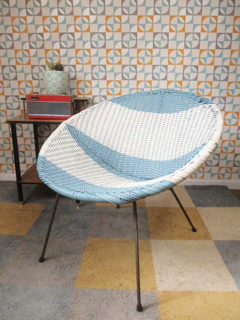 Satellite Chair Vintage 1960 S Blue White Satellite Chair Mid Century Atomic Sputnik Retro