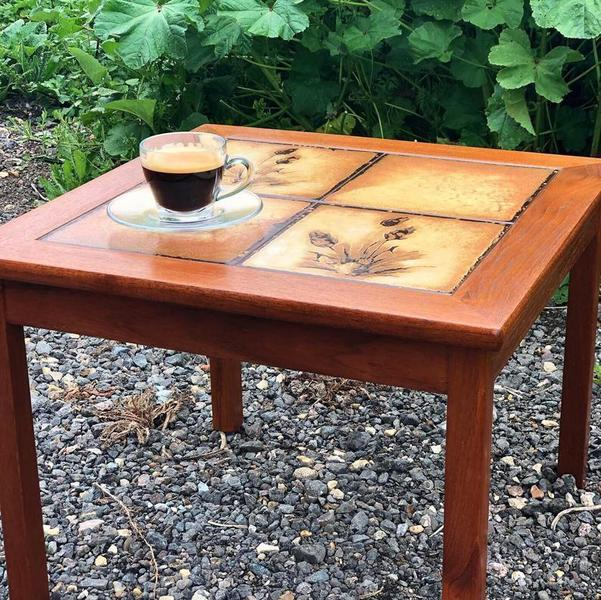made in denmark vintage mid century coffee side table tiled top designed by p h poulsen gangso mibler poul poulson vinterior