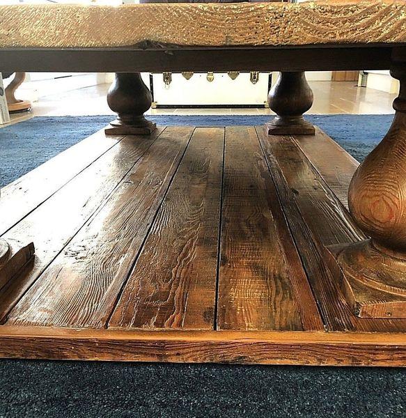 oversized rustic farmhouse coffee table balustrade pedestal legs reclaimed wood
