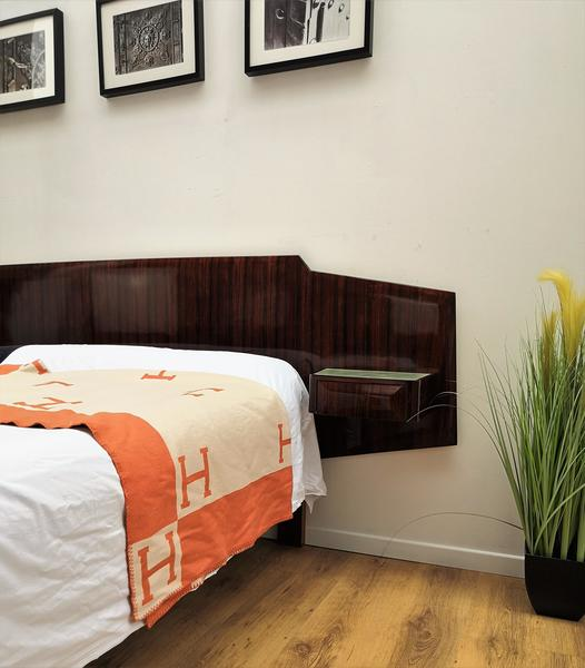 1950s italian art deco mid century modern bed frame with floating nightstands