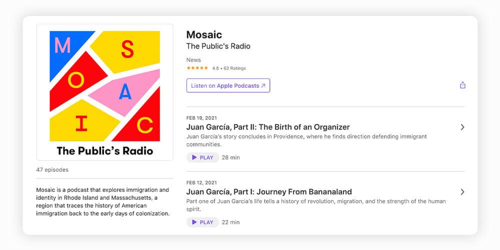 Mosaic immigrant podcast