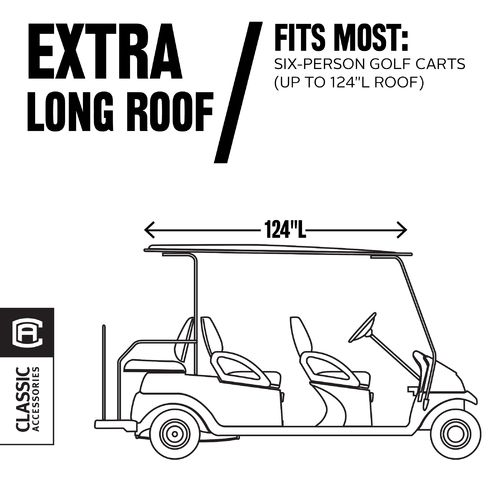 Classic Accessories Deluxe Extra-Long Roof Golf Cart