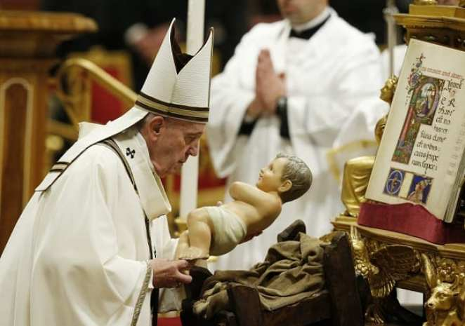 Pope unveils new statue of baby Jesus in a manger: PHOTOS