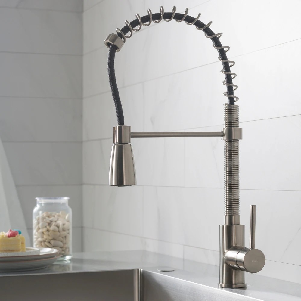 kraus kitchen faucets tile backsplash kpf1612ss single handle stainless steel commercial faucet series lifestyle view