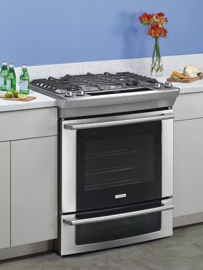 electrolux kitchen appliances storage ew30gs65gs 30 inch slide-in gas range with 4 ...