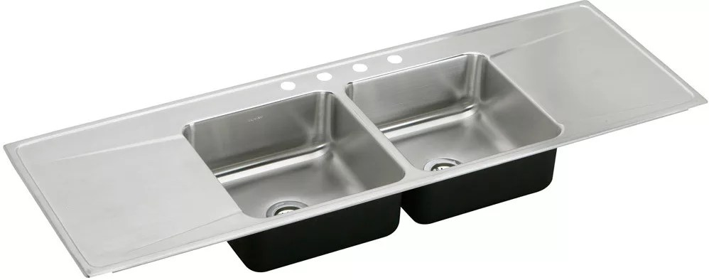 kitchen sinks with drain boards outdoor pizza oven elkay ilr6622dd5 66 inch drop in double bowl stainless steel sink lustertone collection featured view