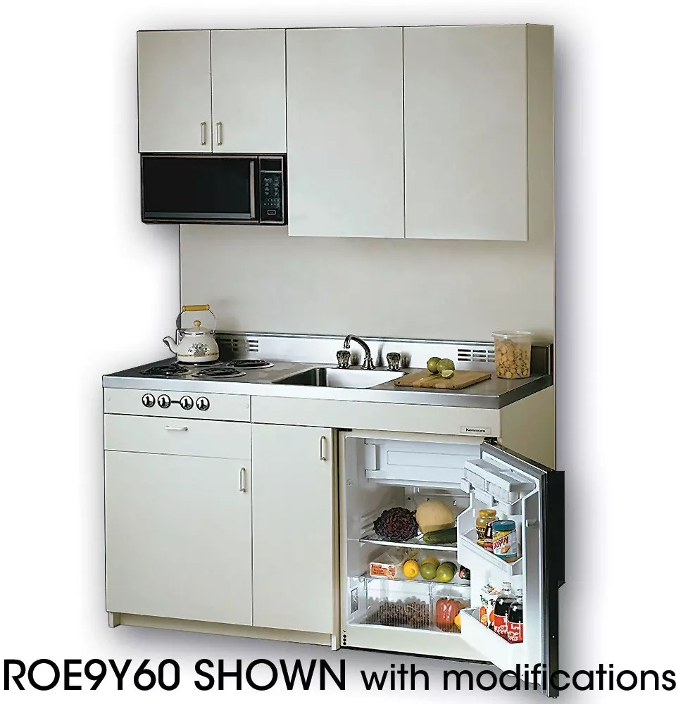 Acme ROE9Y60 Compact Kitchen with Stainless Steel Countertop 4 Electric Burners Oven Sink and