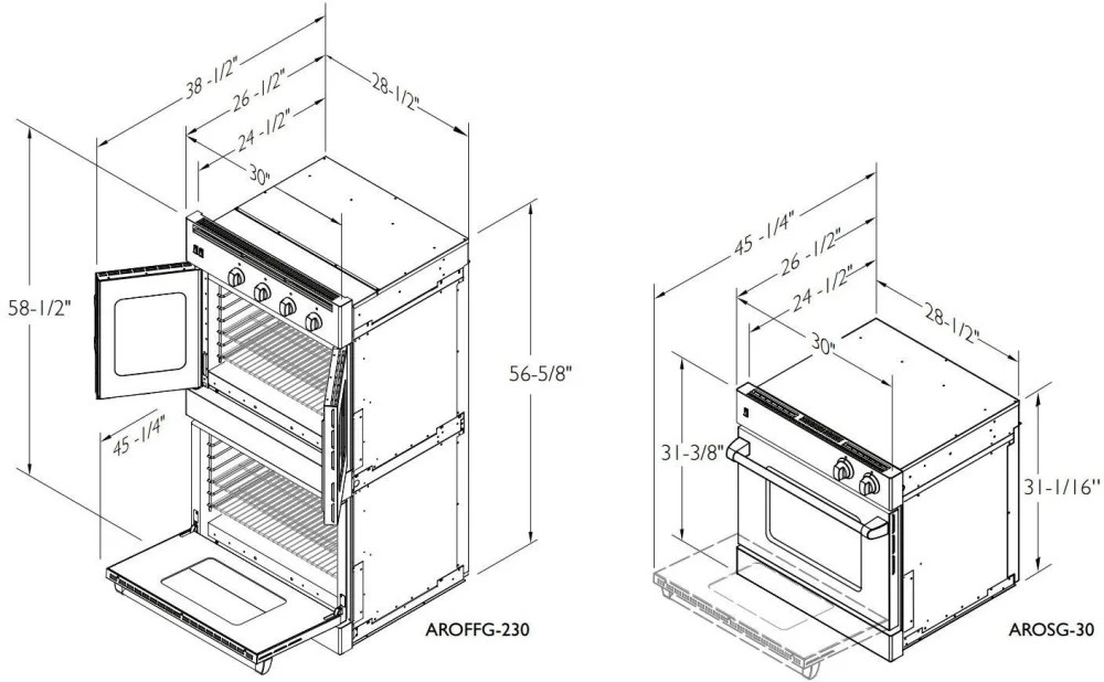 American Range AROSSE230 30 Inch Double Chef Door Electric