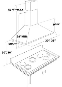Bosch DKE9305AUC Wall Mount Chimney Hood with 400 CFM