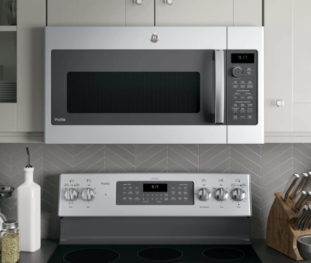 Ge Pvm9179skss 30 Inch Over The Range Microwave With Convection Sensor Cooking Chef Connect 1 7 Cu Ft Capacity 950 Watts Fast Cook Bake Roast