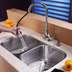 Kraus Kitchen Sinks Cabinets Naples Kbu22kpf1621ksd30ch 32 Inch Undermount 50 Double Bowl Combo Series Lifestyle View
