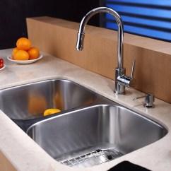 Kitchen Sink Basket Strainer Island Light Pendants Kraus Kbu22kpf1622ksd30ch 32 Inch Undermount 50/50 Double ...