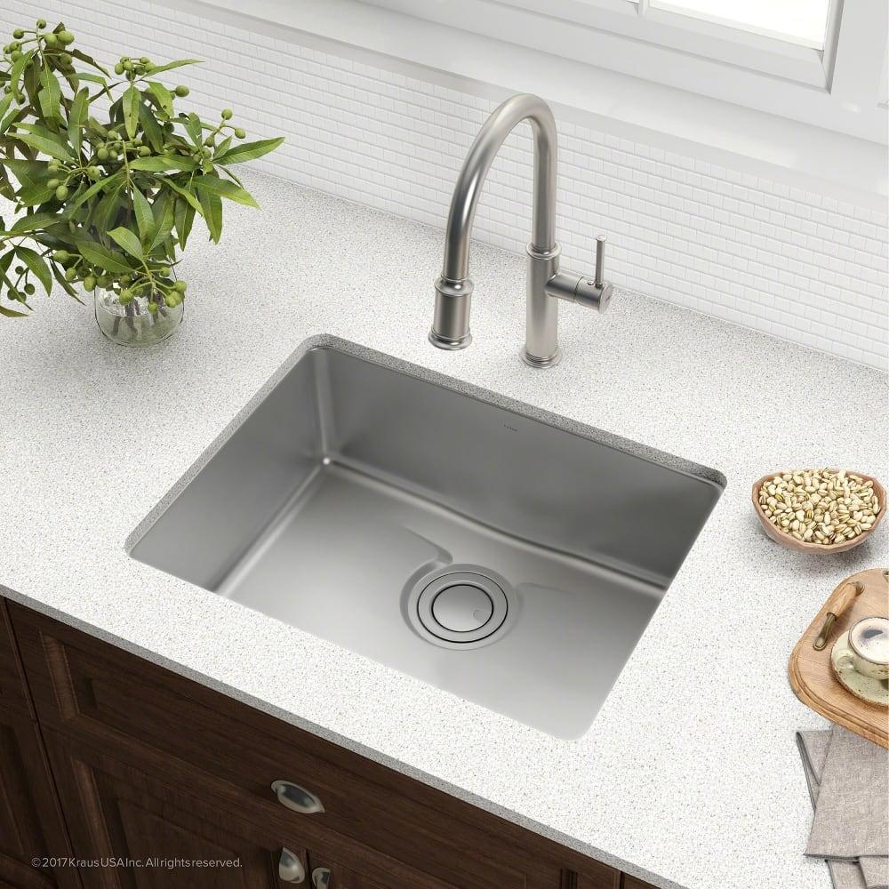 undermount single bowl kitchen sink wallpaper backsplash kraus kd1us25b 25 inch with drainassure waterway noisedefend technology and 16 gauge stainless steel