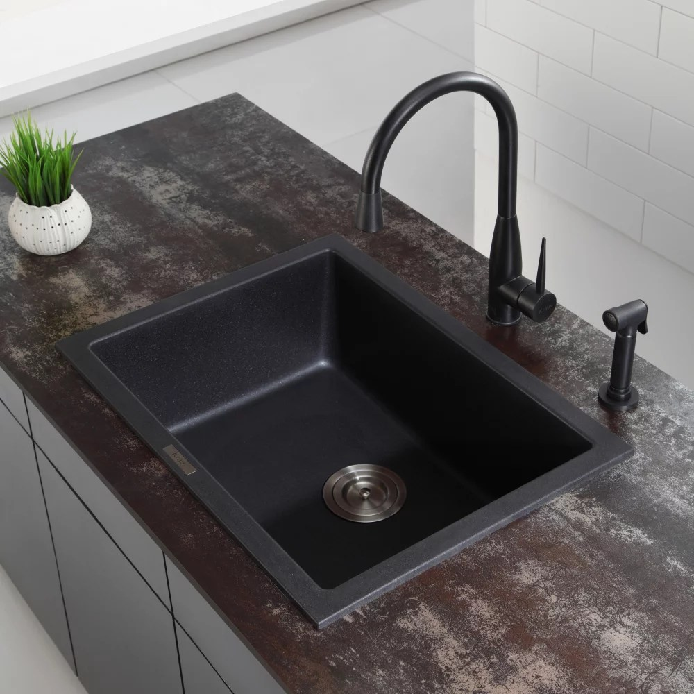24 inch kitchen sink clothes kraus kgd410b dual mount single bowl granite series lifestyle view