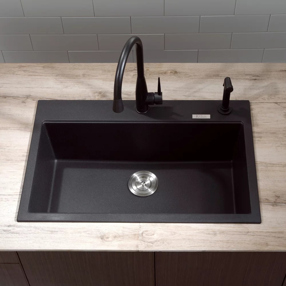 best drop in kitchen sinks stock cabinets kraus kgd412b 31 inch dual mount single bowl granite ...