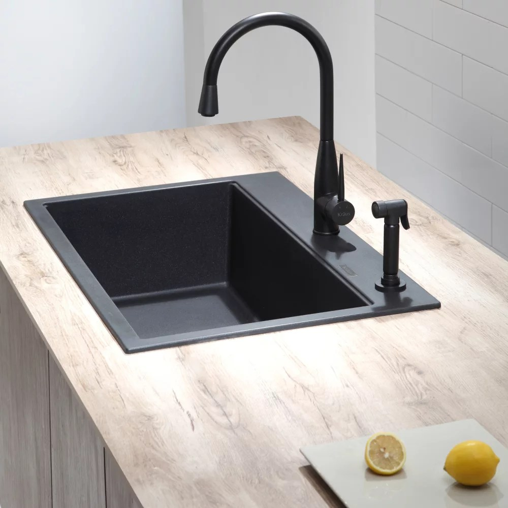 single sink kitchen remodeling buffalo ny kraus kgd412b 31 inch dual mount bowl granite series lifestyle view
