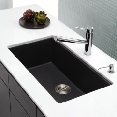 Kraus Kitchen Sinks Island Furniture Kgu413b 31 Inch Undermount Single Bowl Granite Sink Series Lifestyle View