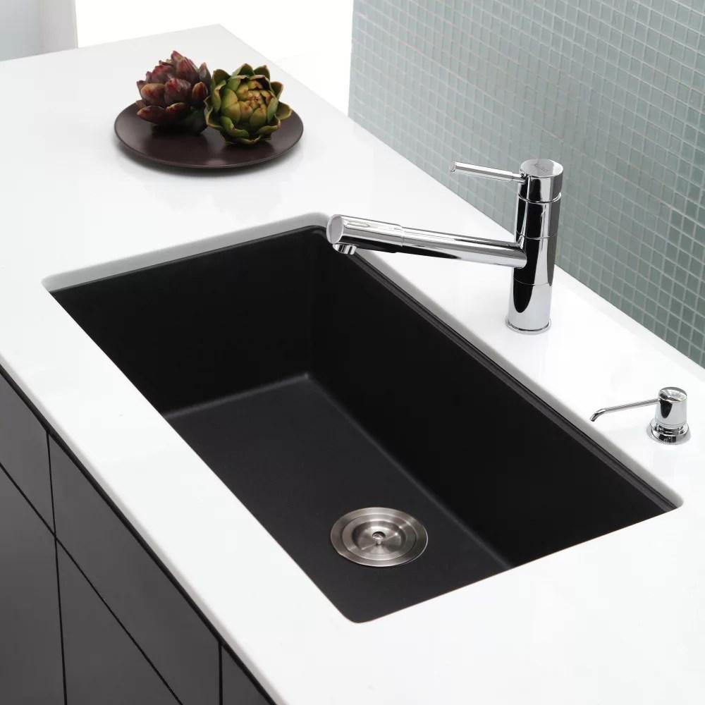 black sink kitchen nook tables kraus kgu413b 31 inch undermount single bowl granite series lifestyle view