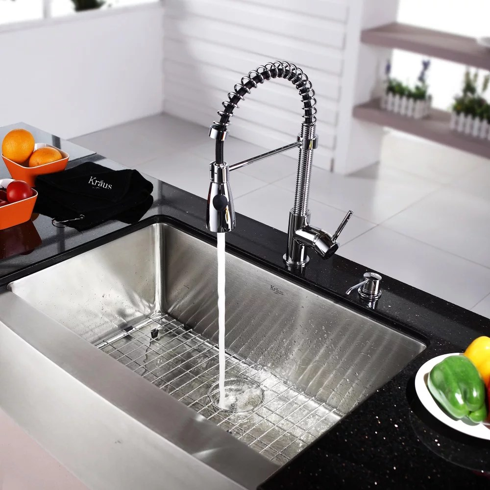 kraus kitchen sinks commercial cleaning khf20030kpf1612ksd30ch 30 inch farmhouse single bowl ...